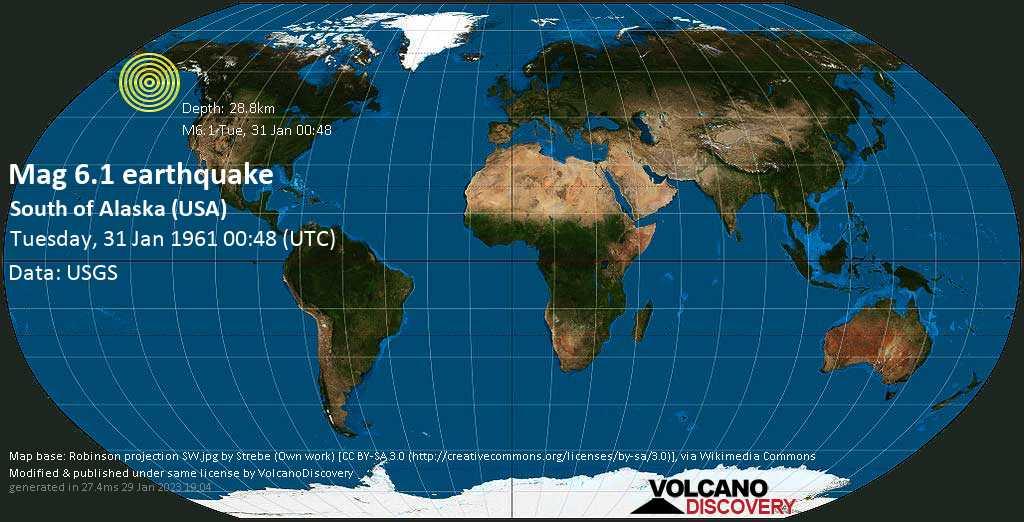 Strong mag. 6.1 earthquake - Gulf of Alaska, 52 mi southeast of Tugidak Island, Kodiak Island County, Alaska, USA, on Tuesday, 31 January 1961 at 00:48 (GMT)