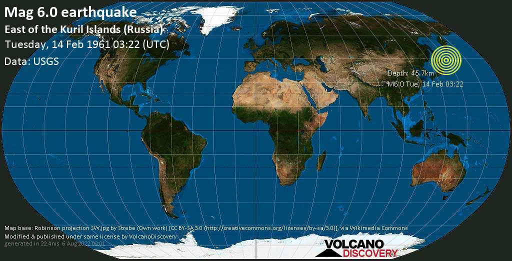 Strong mag. 6.0 earthquake  - East of the Kuril Islands (Russia) on Tuesday, 14 February 1961 at 03:22 (GMT)