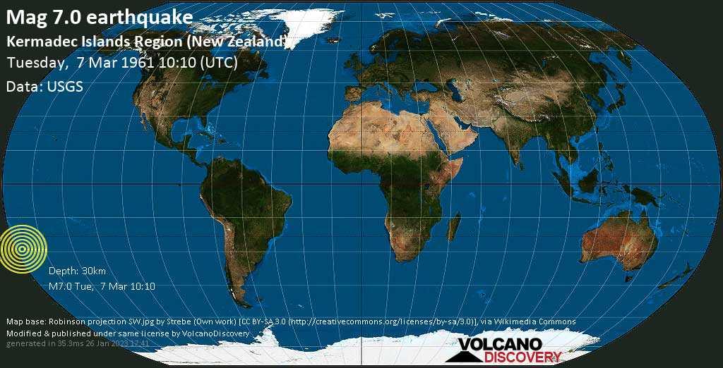 Major mag. 7.0 earthquake  - Kermadec Islands Region (New Zealand) on Tuesday, 7 March 1961