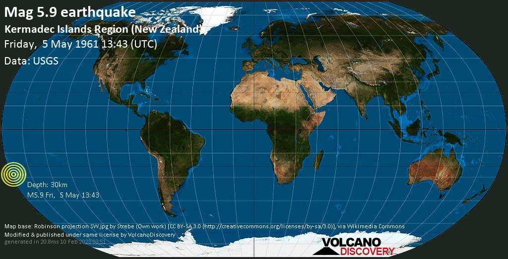 Starkes Magnitude 5.9 Erdbeben - South Pacific Ocean, 1682 km nordöstlich von Wellington, Neuseeland, am Freitag,  5. Mai 1961 um 13:43 GMT