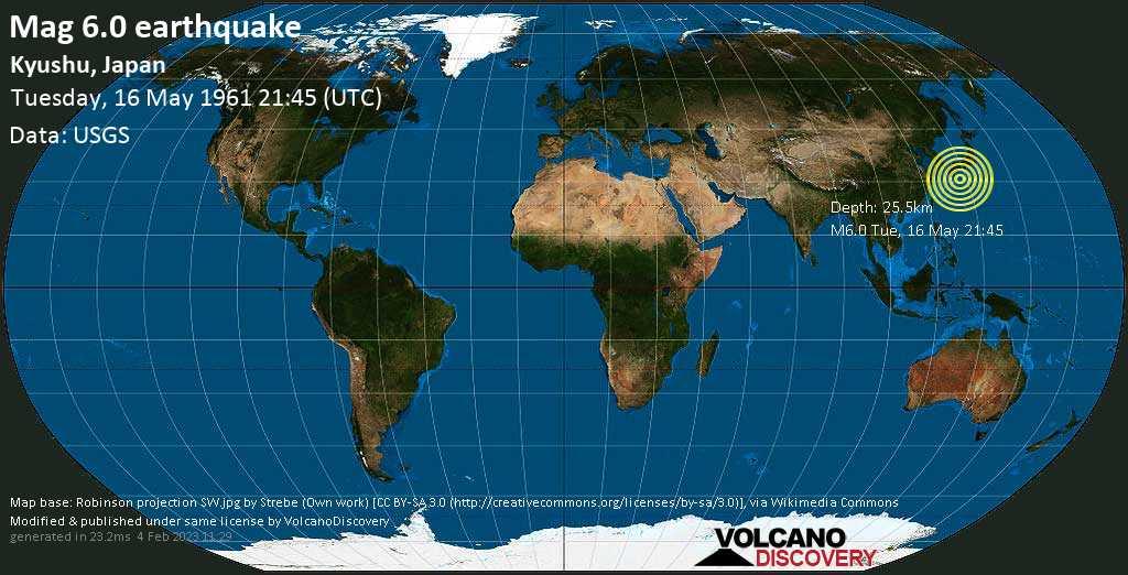 Forte terremoto magnitudine 6.0 - Philippines Sea, 95 km a est da Nishinoomote, Kagoshima, Giappone, martedì, 16 maggio 1961