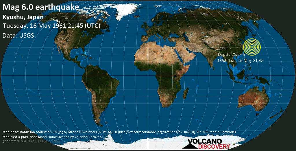 Strong mag. 6.0 earthquake  - Philippines Sea, 95 km east of Nishinoomote, Kagoshima, Japan, on Tuesday, 16 May 1961 at 21:45 (GMT)
