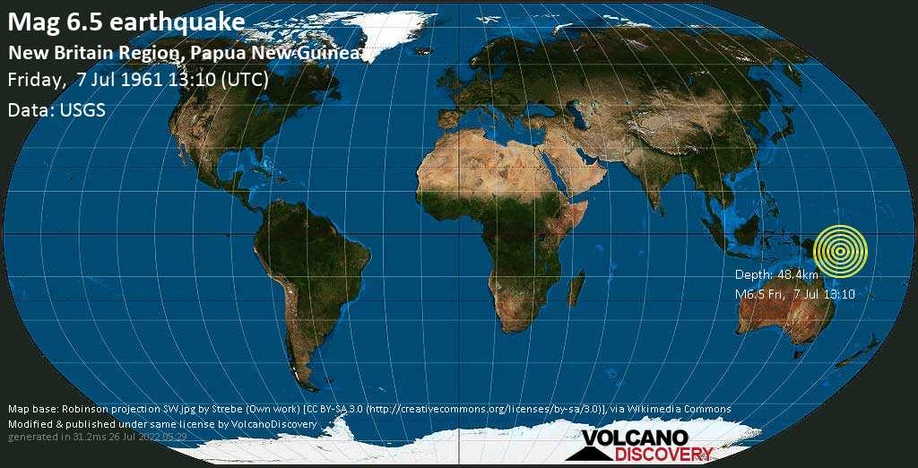 Strong mag. 6.5 earthquake  - 65 km southwest of Kimbe, Papua New Guinea, on Friday, 7 July 1961 at 13:10 (GMT)