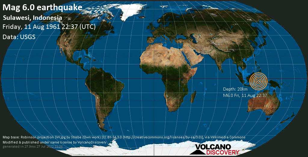 Very strong mag. 6.0 earthquake - Sulawesi Centrale, 138 km north of Kendari, Sulawesi Tenggara, Indonesia, on Friday, 11 August 1961 at 22:37 (GMT)