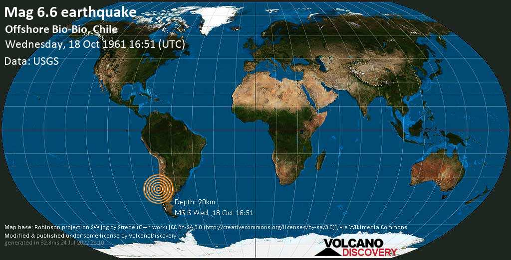 Very strong mag. 6.6 earthquake - South Pacific Ocean, 10.9 km west of Talcahuano, Provincia de Concepcion, Region del Biobio, Chile, on Wednesday, 18 October 1961 at 16:51 (GMT)