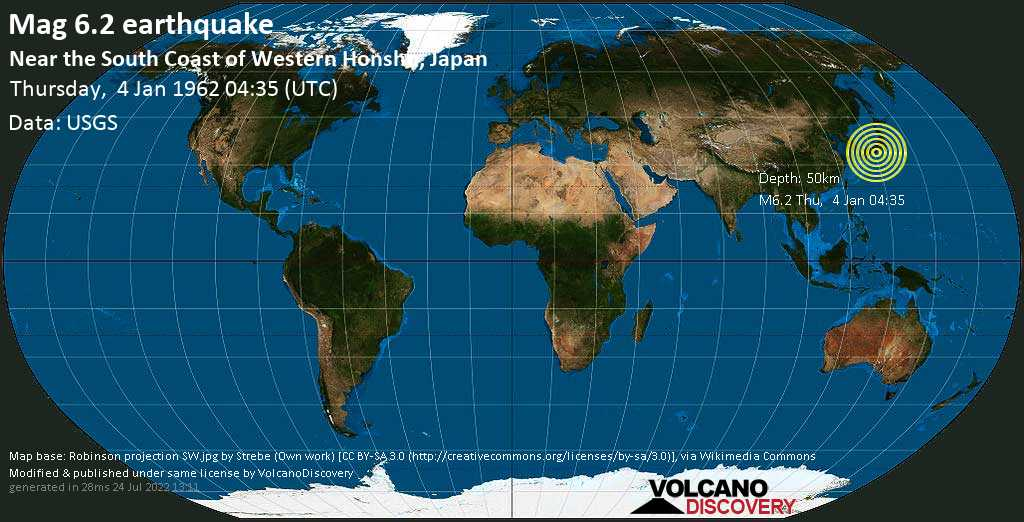 Strong mag. 6.2 earthquake - Philippines Sea, 13 km south of Tanabe, Wakayama, Japan, on Thursday, 4 January 1962 at 04:35 (GMT)