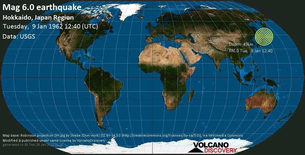 Strong mag. 6.0 earthquake - North Pacific Ocean, 68 km east of Kushiro, Hokkaido, Japan, on Tuesday, 9 January 1962 at 12:40 (GMT)