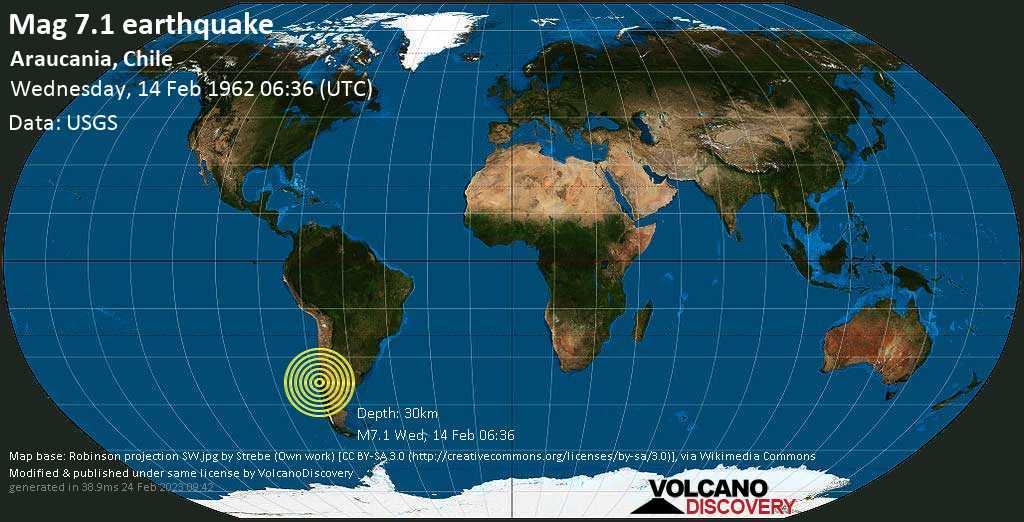 Major magnitude 7.1 earthquake - Malleco, 16 km west of Angol, Provincia de Malleco, Araucania, Chile, on Wednesday, 14 February 1962 at 06:36 (GMT)