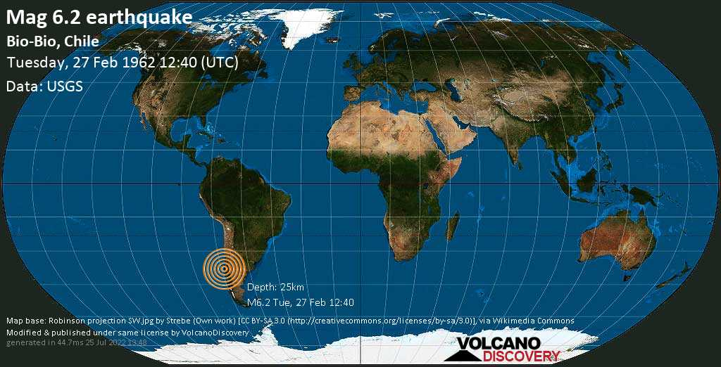 Very strong mag. 6.2 earthquake - Arauco, 30 km west of Angol, Provincia de Malleco, Araucania, Chile, on Tuesday, 27 February 1962 at 12:40 (GMT)