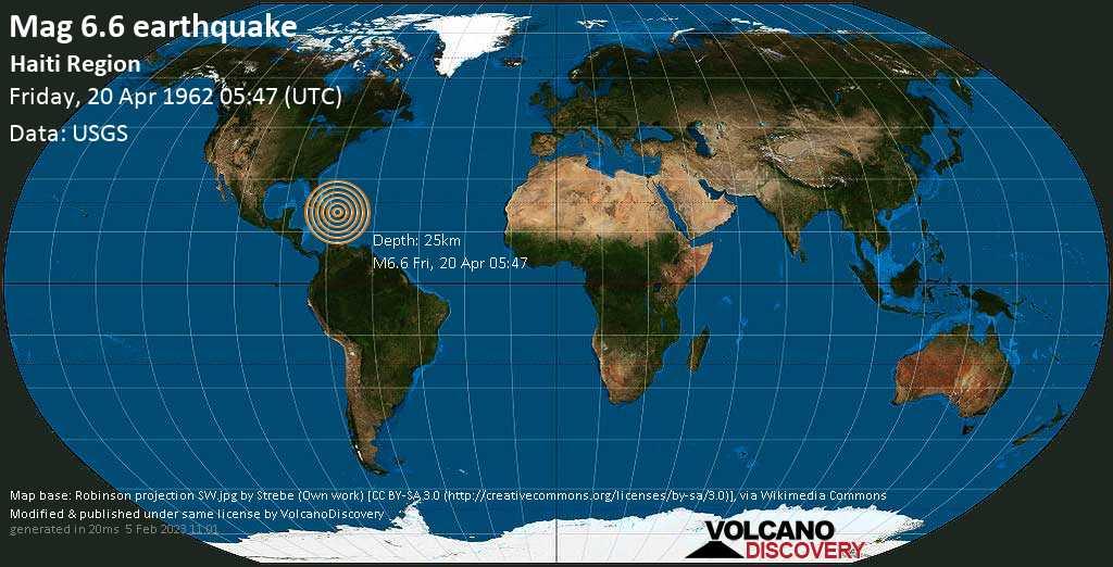 Strong mag. 6.6 earthquake  - North Atlantic Ocean, 69 km north of Cap-Haïtien, Okap, Nord, Haiti, on Friday, 20 April 1962 at 05:47 (GMT)