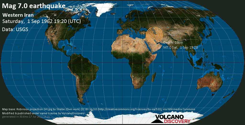 Major magnitude. 7.0 earthquake  - 48 km south of Tākestān, Ostān-e Qazvīn, Iran, on Saturday, 1 September 1962 at 19:20 (GMT)