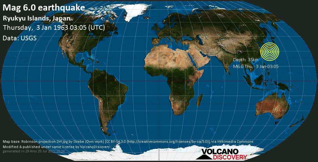 Strong mag. 6.0 earthquake  - Ryukyu Islands, Japan, on Thursday, 3 January 1963 at 03:05 (GMT)
