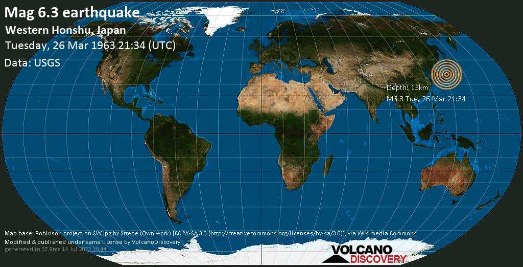 Very strong mag. 6.3 earthquake - Japan Sea, 27 km northwest of Tsuruga, Fukui, Japan, on Tuesday, March 26, 1963 at 21:34 (GMT)