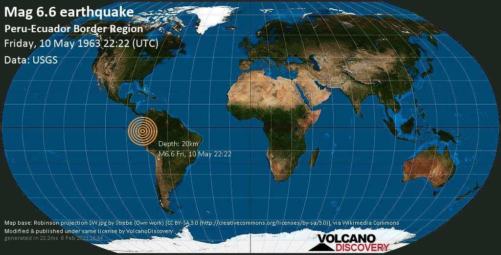 Very strong mag. 6.6 earthquake - Taisha, 56 km east of Macas, Ecuador, on Friday, 10 May 1963 at 22:22 (GMT)