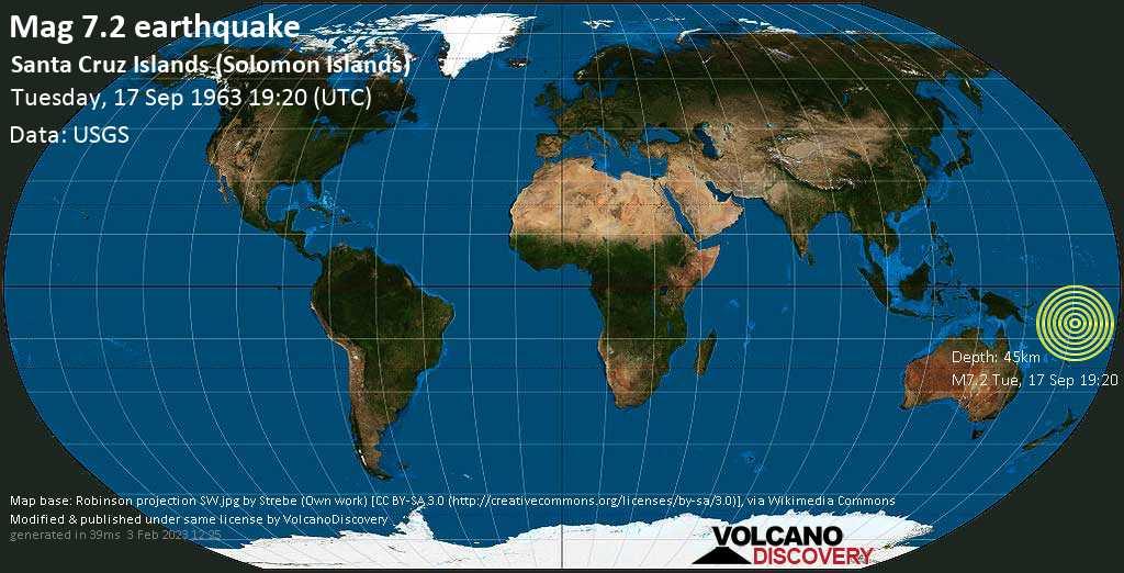 Major mag. 7.2 earthquake  - Santa Cruz Islands (Solomon Islands) on Tuesday, 17 September 1963