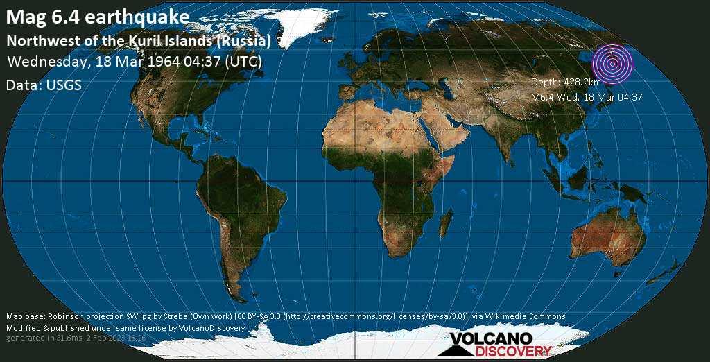 Strong mag. 6.4 earthquake - Sea of Okhotsk, 348 km west of Petropavlovsk-Kamchatskiy, Kamchatka, Russia, on Wednesday, 18 March 1964 at 04:37 (GMT)