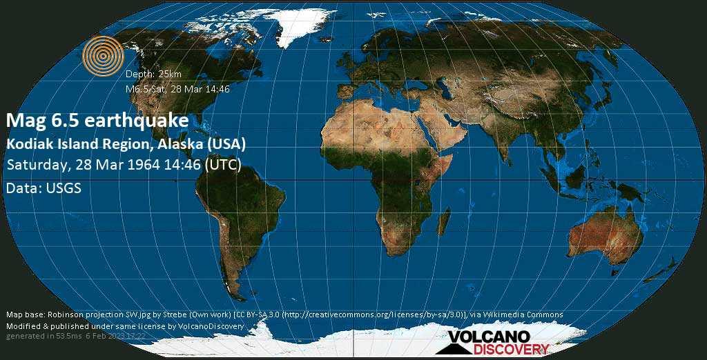 Very strong mag. 6.5 earthquake - Gulf of Alaska, 20 mi south of Sitkinak Island, Kodiak Island County, Alaska, USA, on Saturday, 28 March 1964 at 14:46 (GMT)
