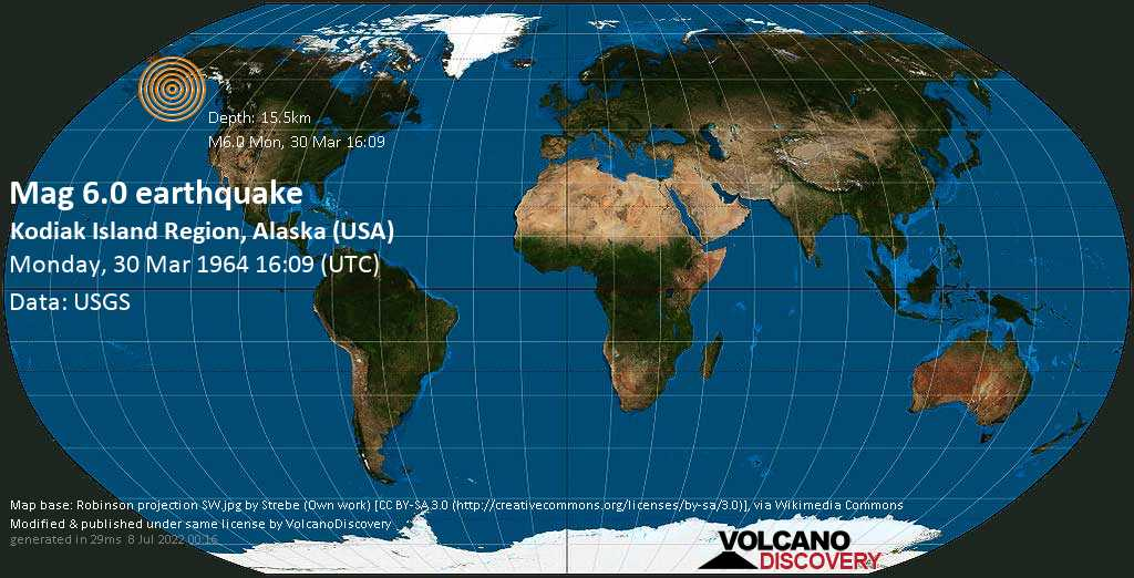 Very strong mag. 6.0 earthquake - Gulf of Alaska, 55 mi southeast of Sitkalidak Island, Kodiak Island County, Alaska, USA, on Monday, 30 March 1964 at 16:09 (GMT)