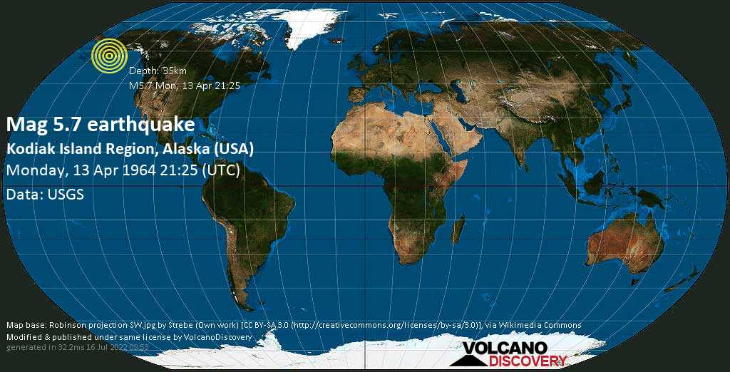 Strong mag. 5.7 earthquake - Kodiak Island Parish, 15 mi south of Larsen Bay, Kodiak Island, Alaska, USA, on Monday, 13 April 1964 at 21:25 (GMT)