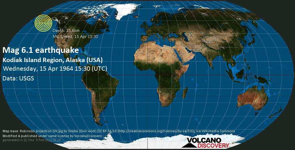 Very strong mag. 6.1 earthquake - Gulf of Alaska, 5.7 mi south of Trinity s Island, Kodiak Island County, Alaska, USA, on Wednesday, 15 April 1964 at 15:30 (GMT)