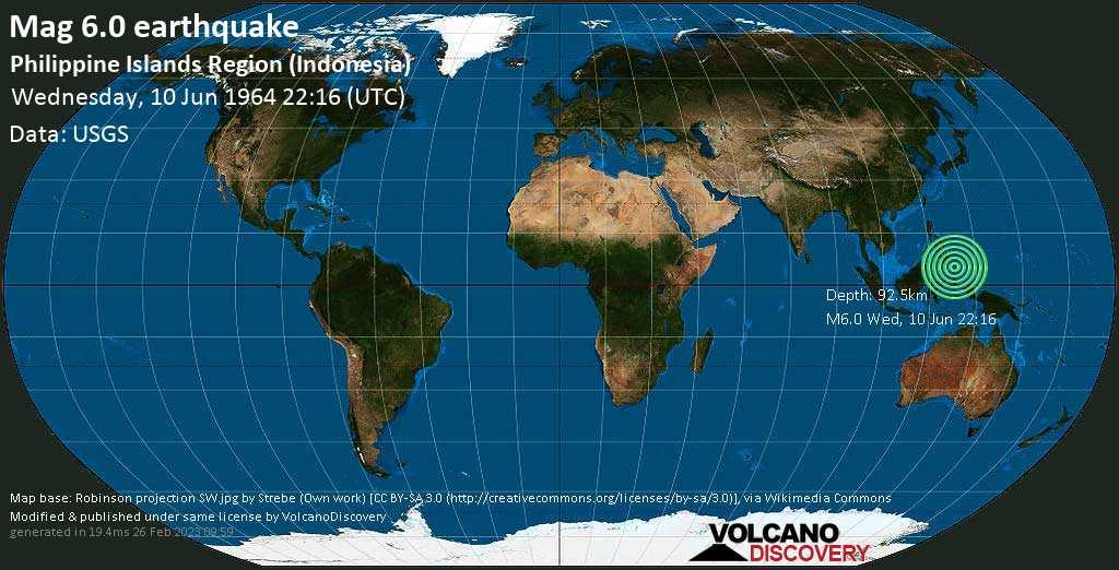 Starkes Magnitude 6.0 Erdbeben - Philippines Sea, 41 km nordöstlich von Pulau Garat , Sulawesi Utara, Indonesien, am Mittwoch, 10. Jun 1964 um 22:16 GMT