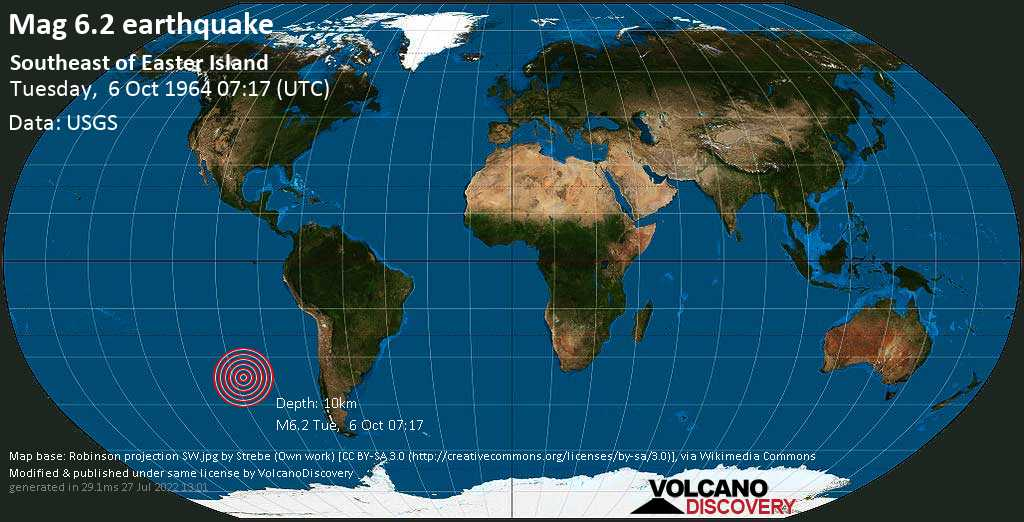 Strong mag. 6.2 earthquake  - Southeast of Easter Island on Tuesday, 6 October 1964