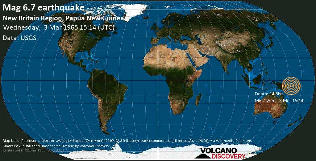Strong mag. 6.7 earthquake  - 139 km south of Kokopo, East New Britain Province, Papua New Guinea, on Wednesday, 3 March 1965 at 15:14 (GMT)