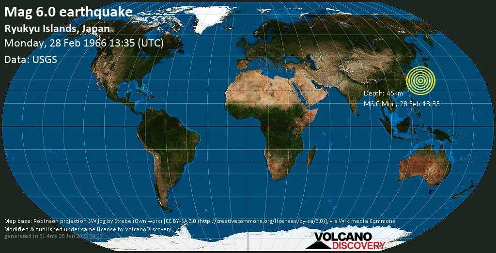 Strong mag. 6.0 earthquake  - Ryukyu Islands, Japan, on Monday, 28 February 1966 at 13:35 (GMT)
