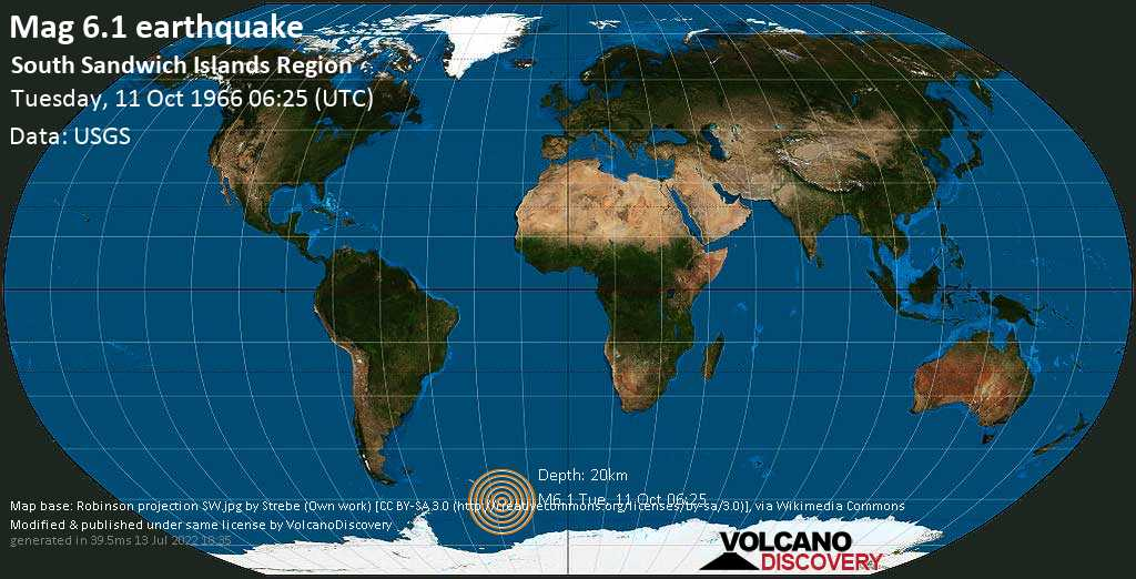 Strong mag. 6.1 earthquake  - South Atlantic Ocean, South Georgia & South Sandwich Islands, on Tuesday, 11 October 1966 at 06:25 (GMT)