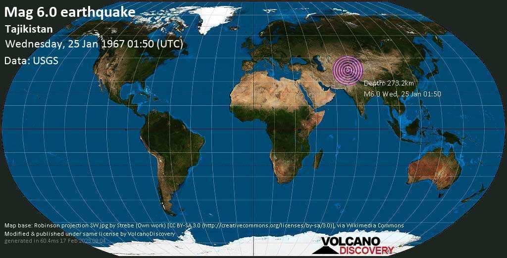 Strong mag. 6.0 earthquake  - Tajikistan on Wednesday, 25 January 1967 at 01:50 (GMT)