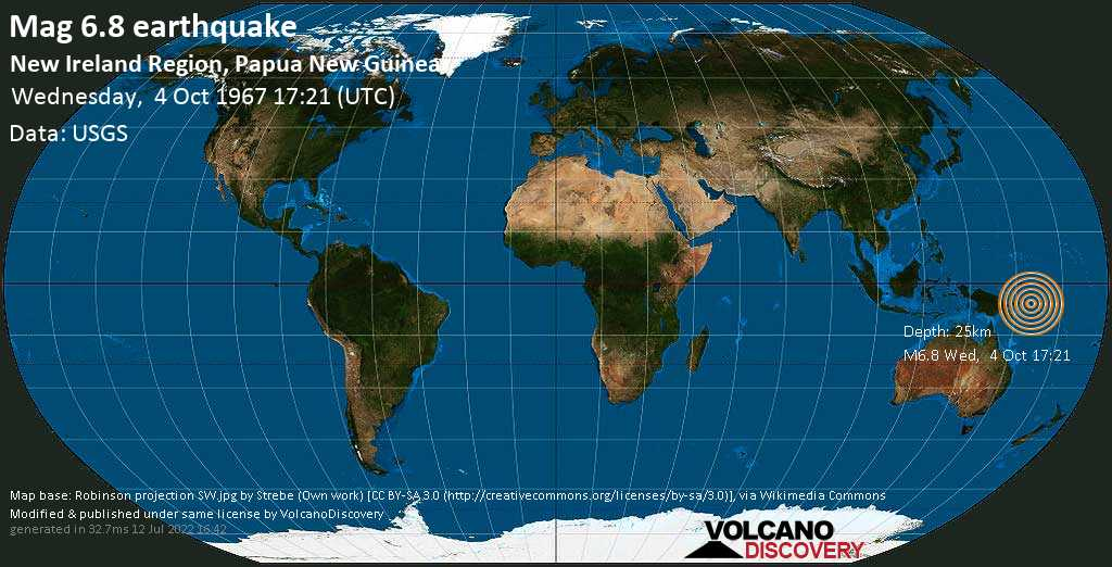 Strong mag. 6.8 earthquake  - Solomon Sea, 864 km northeast of Port Moresby, National Capital, Papua New Guinea, on Wednesday, 4 October 1967 at 17:21 (GMT)