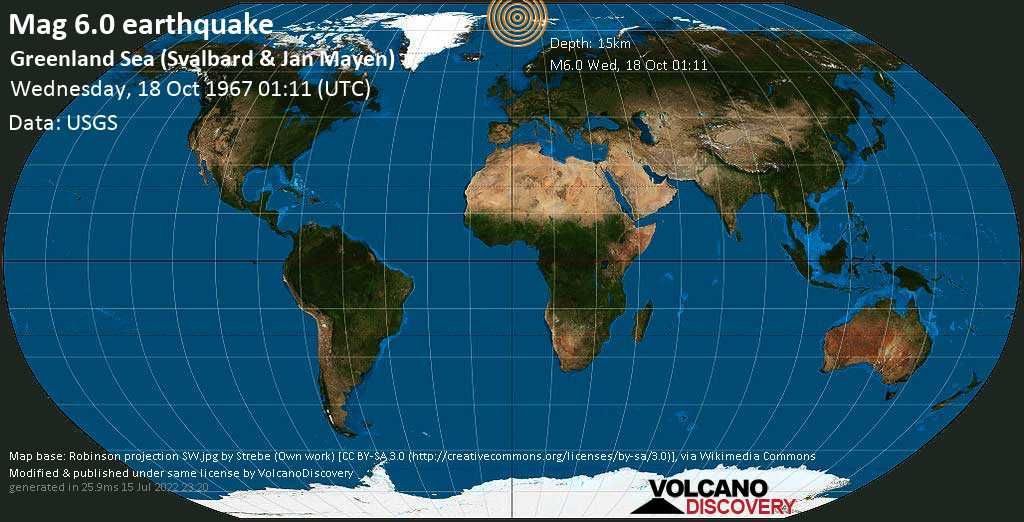 Very strong mag. 6.0 earthquake - North Greenland Sea, 320 km northwest of Longyearbyen, Spitsbergen, Svalbard, on Wednesday, Oct 18, 1967 1:11 am (GMT +0)