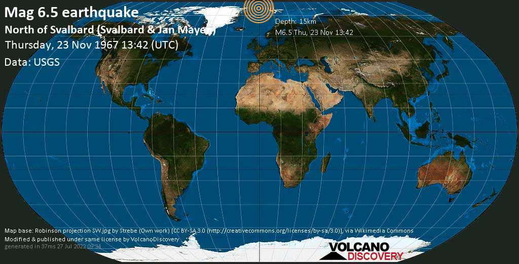 Very strong mag. 6.5 earthquake - North Greenland Sea, 403 km northwest of Longyearbyen, Spitsbergen, Svalbard, on Thursday, November 23, 1967 at 13:42 (GMT)