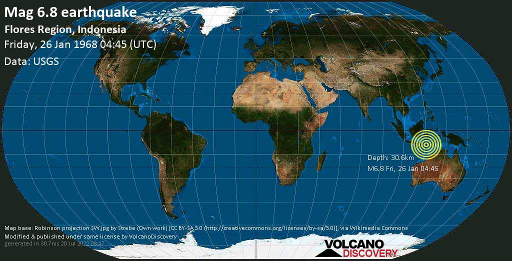 Strong mag. 6.8 earthquake  - Savu Sea, 2.8 km northwest of Pulau Mules Island, East Nusa Tenggara, Indonesia, on Friday, 26 January 1968 at 04:45 (GMT)