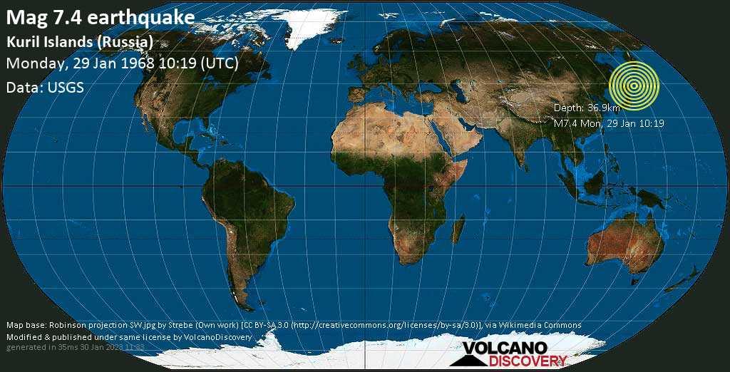 Major magnitude 7.4 earthquake - North Pacific Ocean, 26 km south of Shikotan, Sakhalin Oblast, Russia, on Monday, Jan 29, 1968 10:19 am (GMT +0)