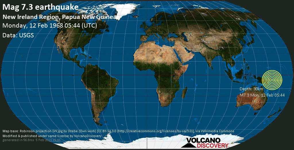 Major mag. 7.3 earthquake  - New Ireland Region, Papua New Guinea on Monday, 12 February 1968