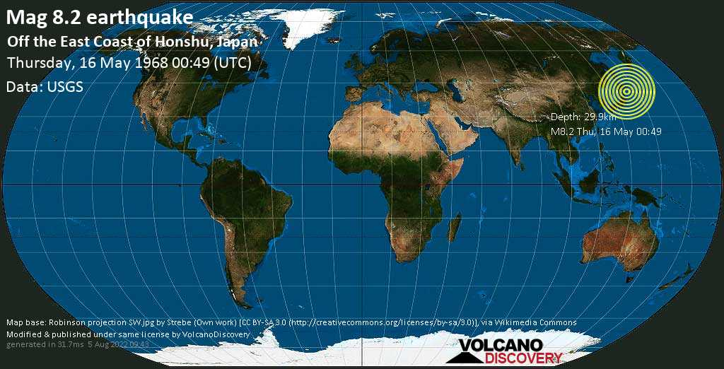 Great mag. 8.2 earthquake  - Off the East Coast of Honshu, Japan, on Thursday, 16 May 1968 at 00:49 (GMT)