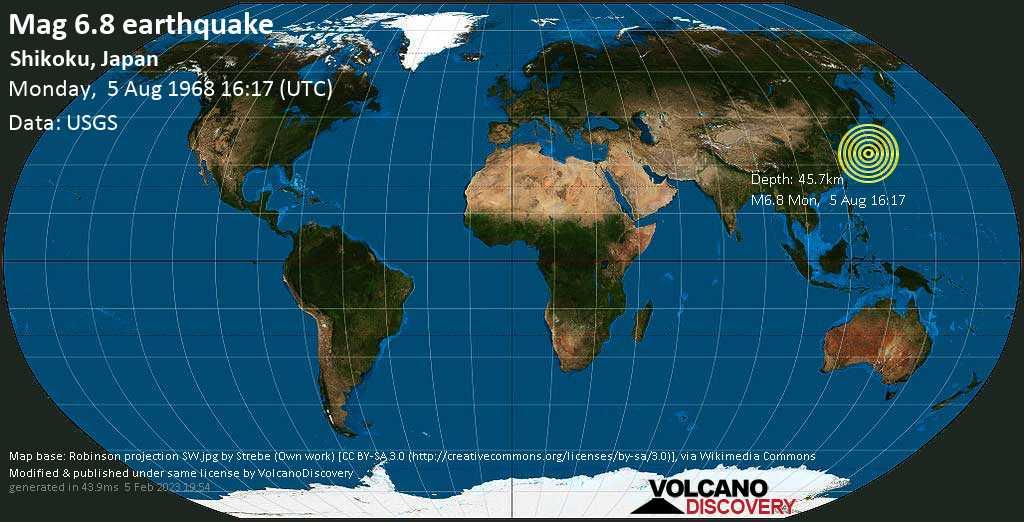 Very strong mag. 6.8 earthquake - Philippines Sea, 19 km northwest of Oitsukami-jima Island, Japan, on Monday, 5 Aug 1968 4:17 pm (GMT +0)