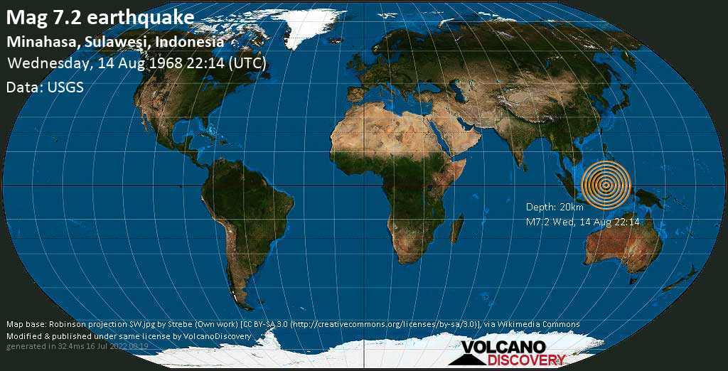 Major mag. 7.2 earthquake  - Minahasa, Sulawesi, Indonesia on Wednesday, 14 August 1968