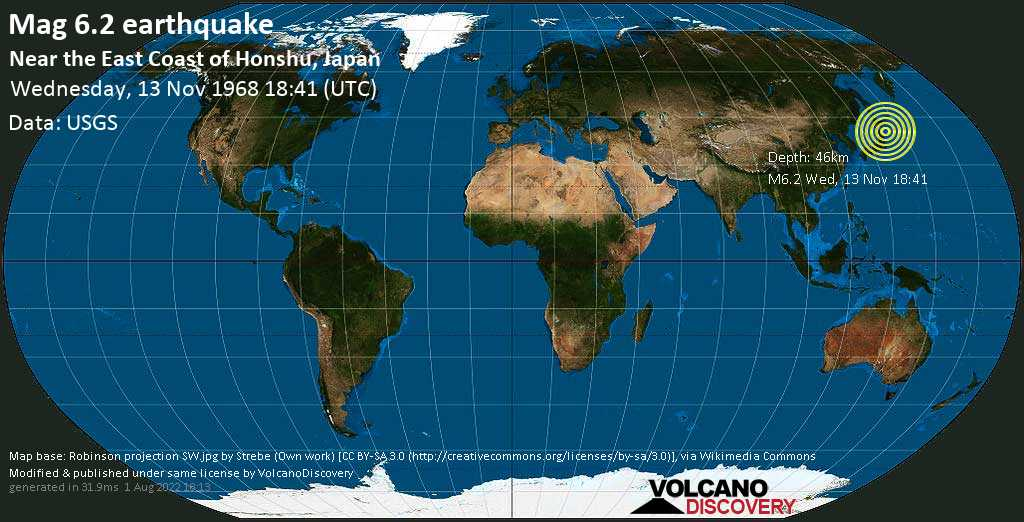 Strong mag. 6.2 earthquake  - North Pacific Ocean, 92 km northeast of Miyako, Miyako-shi, Iwate, Japan, on Wednesday, 13 November 1968 at 18:41 (GMT)