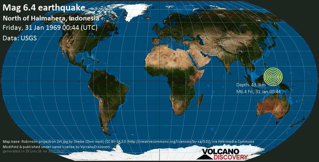 Strong mag. 6.4 earthquake - Philippines Sea, 478 km northeast of Manado, Sulawesi Baroh, Indonesia, on Friday, 31 January 1969 at 00:44 (GMT)