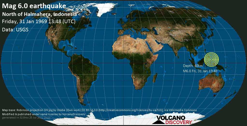 Strong mag. 6.0 earthquake - Philippines Sea, 493 km northeast of Manado, Sulawesi Baroh, Indonesia, on Friday, 31 January 1969 at 13:48 (GMT)