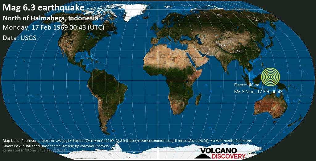 Strong mag. 6.3 earthquake - Philippines Sea, 336 km north of Ternate, Maluku Utara, Indonesia, on Monday, 17 February 1969 at 00:43 (GMT)