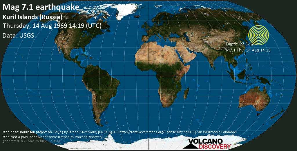 Major magnitude 7.1 earthquake - North Pacific Ocean, 92 km southeast of Shikotan, Sakhalin Oblast, Russia, on Thursday, August 14, 1969 at 14:19 (GMT)