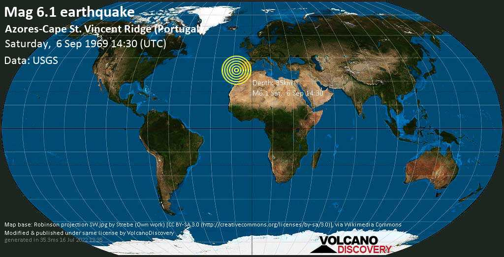 Strong mag. 6.1 earthquake  - Azores-Cape St. Vincent Ridge (Portugal) on Saturday, 6 September 1969 at 14:30 (GMT)