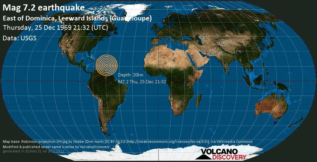 Major mag. 7.2 earthquake  - East of Dominica, Leeward Islands (Guadeloupe), on Thursday, 25 December 1969 at 21:32 (GMT)