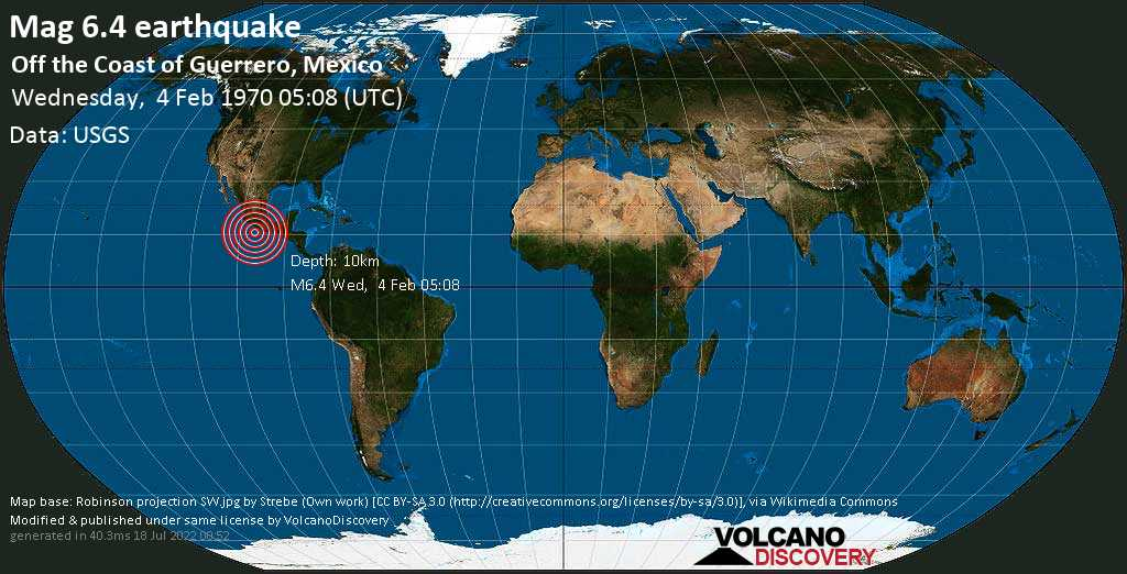 Strong mag. 6.4 earthquake  - Off the Coast of Guerrero, Mexico, on Wednesday, 4 February 1970 at 05:08 (GMT)