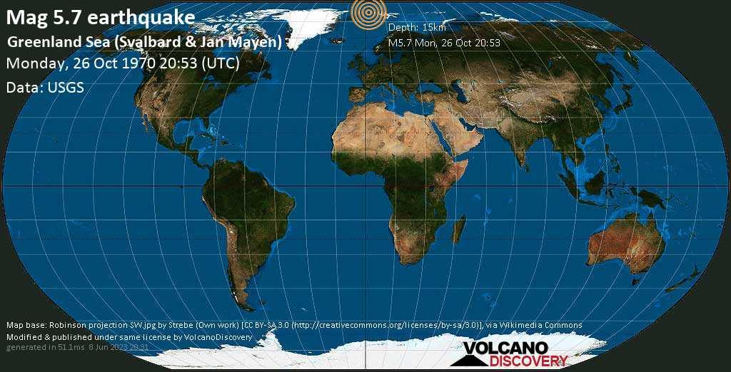 Strong mag. 5.7 earthquake - Svalbard & Jan Mayen on Monday, October 26, 1970 at 20:53 (GMT)