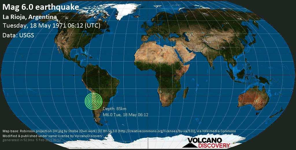 Strong mag. 6.0 earthquake  - La Rioja, Argentina, on Tuesday, 18 May 1971 at 06:12 (GMT)