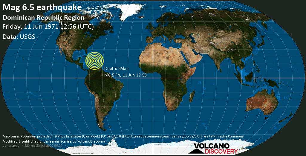 Strong mag. 6.5 earthquake  - Dominican Republic Region on Friday, 11 June 1971